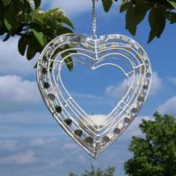 Shabby Chic White Metal Hanging Heart Tea-light Holder